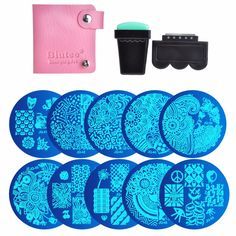 10 Nail Plates +1 Stamper + 1 Scraper + Storage Bag Nail Art Image Stamp Stamping Plates Manicure Template Nail Art Tools