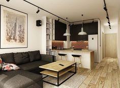 canapé gris anthracite chiné avec méridienne, table en bois massif et métal et spots sur rail