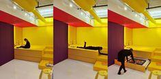 Prismatic Colours- Bright Apartment in Montreal by Jean Verville Architecte   http://www.designrulz.com/spaces-for-living/kitchen-product-design/2012/07/prismatic-colours-bright-apartment-in-montreal-by-jean-verville-architecte/