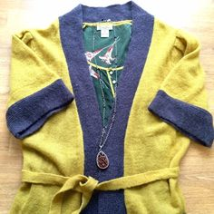 HP!Anthropologie yellow/grey belted cardigan Beautiful Anthropologie by Yumi London belted 3/4 sleeve mustard yellow cardigan with front pockets. Worn once, like new condition. Anthropologie Sweaters Cardigans