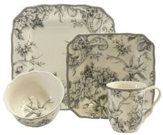 Adelaide Gray Service for 4 - Decorative - Dinnerware I love this cut on the square plates and the scalloped edge! Porcelain Dinnerware, Dinnerware Sets, Grey Dinnerware, Dining Decor, Kitchen Dining, Kitchen Decor, Square Plates, Grey Glass, China Patterns