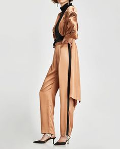 SATIN TROUSERS WITH SIDE STRIPES from Zara