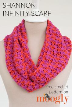 Shannon Infinity Scarf - free crochet pattern on mooglyblog.com! Check out the different color combos, and make it to your own custom length!
