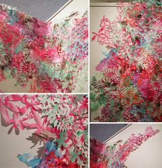 Stacza Lipinski's installations are made with painted vellum that are then hand-cut {with an x-acto} into gorgeous streams of shapes and color...
