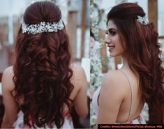 7 Easy-Peasy Bridal/ Bridesmaids Hairstyles You Need To Save Right Now – WedBook Bollywood Hairstyles, Hairstyles For Gowns, Open Hairstyles, Indian Wedding Hairstyles, Bride Hairstyles, Lehenga Hairstyles, Bridesmaids Hairstyles, Sophisticated Hairstyles, Engagement Hairstyles