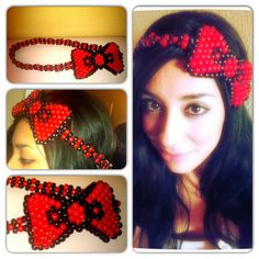 Hello Kitty Kandi Bow Headband by KandiQueenBoutique on Etsy - might be able to figure out how to make these for the girls for Christmas gifts.