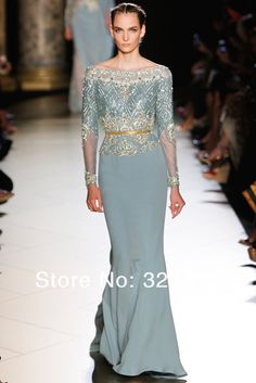 2014 Elie Saab Dress Couture Blue Chiffon Beautiful Design Beads Long Sleeve Fashion Floor Length Evening Dresses Gowns $799.99