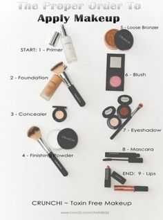 is a helpful guide to the proper order of putting on your make up. And, if Here is a helpful guide to the proper order of putting on your make up.Here is a helpful guide to the proper order of putting on your make up. Diy Beauty Makeup, Makeup 101, Makeup Guide, Free Makeup, Steps Of Makeup, Beauty Hacks, Makeup Tools, Kids Makeup, Beauty Makeup Tips