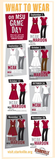 Check out What to Wear on Gameday this Fall! Show your true colors! #hailstate