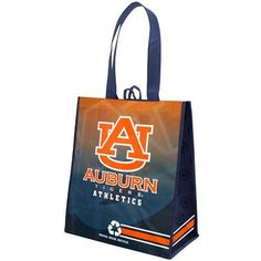 "Auburn Tigers Orange-Navy Blue Fade Reusable Tote Bag by Football Fanatics. $2.99. Two carry handles. Team logo and colors. Reusable bag. Locker loop. High gloss finish. Auburn Tigers Orange-Navy Blue Fade Reusable Tote Bag92% Non-woven polypropylene fabric/8% Oriented polypropylene filmImportedOfficially licensed collegiate productHigh gloss finishTeam logo and colorsApproximately 15"" x 13"" x 7""Reusable bagTwo carry handlesAll new materialsWarm hand wash onlyLocker loopReusa..."