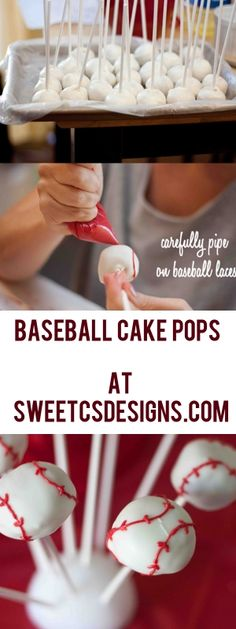 Love these baseball cake pops! They are really easy to make and will thrill any baseball fan! Pin now, use for your next party or little league snack time!