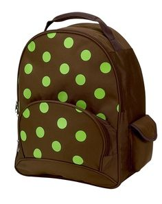 My Sweet Dreams Baby - Brown with Lime Green Polka Dots Kid's Personalized Backpack (http://www.mysweetdreamsbaby.com/personalized/kidsbackpacks.htm)