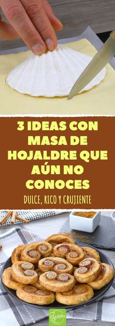 3 ideas con masa de hojaldre que aún no conoces. Dulce, rico y crujiente #recetas #masadehojaldre #hojaldre #dulcesdehojaldre #pastas #palmeritas #conchasdehojaldre #donasdehojaldre #dulces French Toast, Recipies, Yummy Food, Cookies, Baking, Breakfast, Cake, Sweet, Desserts