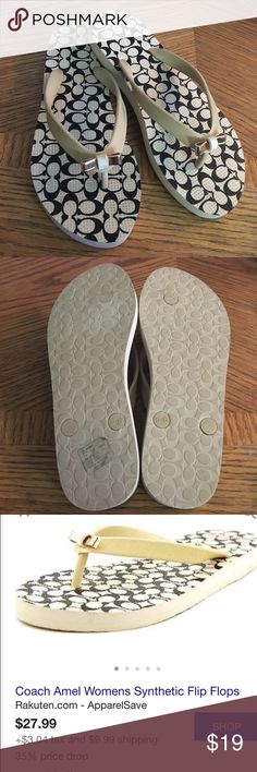Coach flip flops 💥willing to take reasonable offers.💥 Ivory colored women's coach flip flops size 5-6 Shoes Sandals