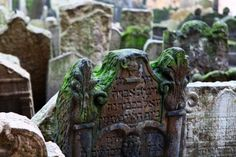Old Jewish Cemetery, Prague, Czech Republic  A bit of history Dating from the 15th century, this cemetery was for hundreds of years the only burial place permitted to Jews in the city. Due to the lack of space, people had to be buried on top of each other – there are thought to be up to 12 layers in some places, lying beneath headstones sculpted with figures representing symbols of family names.