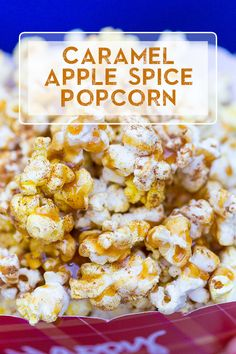 Oh my gosh, I wont be able to wait until family movie night with the kids to try new popcorn recipes like this one. I love fall apple desserts! Popcorn Snacks, Flavored Popcorn, Gourmet Popcorn, Popcorn Bowl, Pop Popcorn, Caramel Recipes, Fall Recipes, Snack Recipes, Desserts Caramel