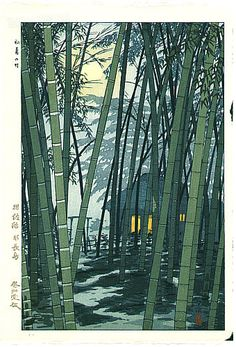Shiro Kasamatsu - Japon - Bamboo in summer, 1954 Japan Illustration, Bamboo Art, Japanese Landscape, Japanese Bamboo, Art Asiatique, Art Japonais, Japanese Painting, Japan Art, Japan Japan