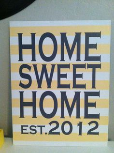 HOME SWEET HOME Established Year Canvas by SignHereVinyl on Etsy, $25.00