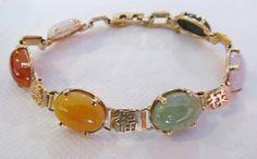 Ming's of Honolulu 14K Link Multi Color Jade by Alohamemorabilia,