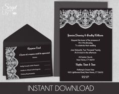 """Black and White Lace Printable Wedding Invitation Template 