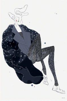 Comme des Garçons F/W 2014 by Velwyn Yossy (via Illustration.Files: Comme des Garçons F/W 2014 Fashion Illustrations by Velwyn Yossy Art And Illustration, Fashion Illustration Sketches, Fashion Sketchbook, Fashion Sketches, Drawing Sketches, Fashion Drawings, Moda Fashion, Fashion Art, Fashion Design