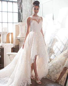 Elegant high-low wedding dress by Justin Alexander Signature.