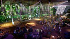 © Royal Caribbean International http://reisegezwitscher.de/reisetipps-footer/2120-kreuzfahrt-mit-stil  Der mehrstöckige Event-Raum Two70° ist Heimat einer agilen Truppe von sechs Roboscreens. Die einzelnen Bildschirme schwingen nach oben, tanzen und twisten einzeln oder verbinden sich zu einem Ganzen. Ebenfalls verblüffend sind die raumhohen Vistarama-Glaswände. Sie verwandeln sich in eine breite Oberfläche, auf die reale, imaginäre und teils sogar mehrdimensionale Szenen projiziert werden.