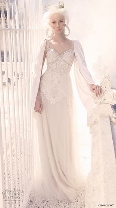 george wu 2016 bridal gowns cape long sleeves sweetheart neckline embellished bodice elegant sheath wedding dress (adesia) mv