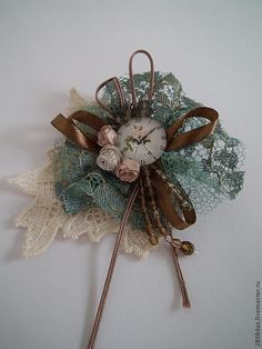 DIY handmade vintage scraps, ribbons, lace, watch, flowers, steampunk romantic shabby chic style corsage Одноклассники