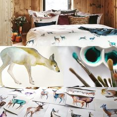 Bedding Like Serena And Lily Code: 6313336459 Roe Deer, Linen Bedding, Bed Linens, Cool Beds, It's Snowing, Antlers, Cosy, Moose Art, Symbols