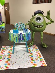 Monsters Inc/University high chair decorations Monster University Birthday, Monster 1st Birthdays, Monster Inc Party, Monster Birthday Parties, First Birthday Parties, First Birthdays, Boys First Birthday Party Ideas, Birthday Themes For Boys, Baby Boy First Birthday
