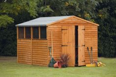 10x8 workshop with 4 windows, with double doors for easy access
