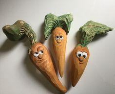 Carrots. Vegetables. Fun. Scrap wood carving.