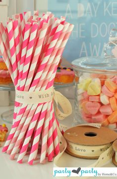 Pink straws! Party Fun, Party Ideas, Wedding Events, Weddings, Kids Party Supplies, Paper Straws, Best Part Of Me, Table Decorations, Pink