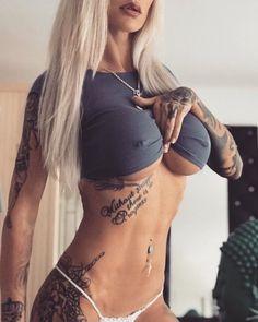 Blonde fitness yoga girl in jungle, with perky big boobs in sexy bikini swimwear. Tattoed Girls, Inked Girls, Sexy Tattoos, Girl Tattoos, Bikini Fashion, Bikini Models, Bikini Girls, Bikini Babes, Bikini Swimwear