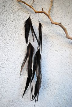 Extra Long Black Feather and Chain Earrings  Style by jessamurph, $35.00