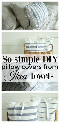 Super simple tutorial for farmhouse style DIY pillow covers from IKEA towels. #sewing #diy #sewingtutorial #sewingforbeginners