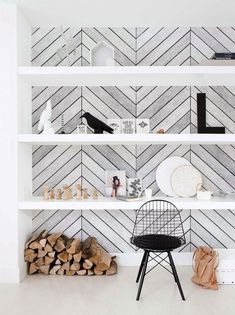 Chevron Grey White Wood Accent Mural Wall Art Wallpaper - Peel and Stick - Living Room - Accent Wallpaper, Wall Art Wallpaper, Mural Wall Art, Framed Wall Art, Fabric Wallpaper, Textured Wallpaper, Grey And White Chevron Wallpaper, Office Wallpaper, Bathroom Wallpaper
