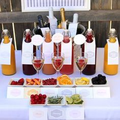 Brunch party idea Mimosa bar wedding shower or party drink station labels and Bar Mimosa, Sangria Bar, Prosecco Bar, Mimosa Brunch, Brunch Drinks, Brunch Buffet, Sumo Natural, Champagne Bar, Bubbly Bar