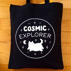 Cosmic Explorer Tote Bag - Heavyweight Cotton - Cute Space Cat Illustration Sceen Print - by Sparkle Collective