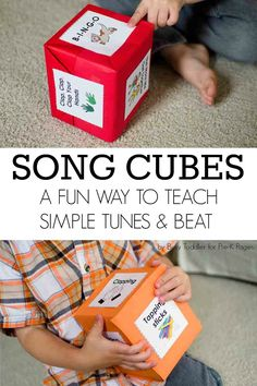 Music with Kids Song Cubes and Finding the Beat A super fun way to learn rhythm beat and simple tunes for toddlers preschoolers prek and kindergarten kids at home or scho. Music For Toddlers, Kids Music, Toddler Music, Learning For Toddlers, Toddler Songs With Actions, Fun Music, Infant Toddler, Pre K Pages, Preschool Songs