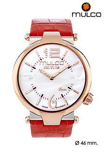 Reloj Mulco Watches colección Couture Slim con diseño unisex, caja de acero inoxidable y correa de cuero. Maquinaria suiza. Reloj analógico disponible en varios colores.