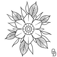 Tattoo Outline Drawing, Tattoo Design Drawings, Art Drawings Sketches, Tattoo Sketches, Tattoo Designs, Traditional Tattoo Flowers, Traditional Tattoo Outline, Traditional Tattoo Stencils, Arte Van Gogh