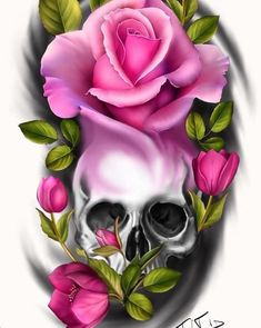 Pink rose w/skull Skull Rose Tattoos, Body Art Tattoos, Sleeve Tattoos, Cool Tattoos, Pink Rose Tattoos, Skull Tattoo Design, Tattoo Designs, Bleistift Tattoo, Sugar Skull Artwork