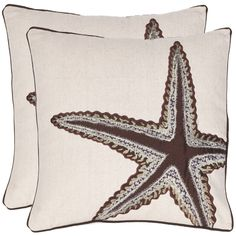 Starfish 18-inch Beige/ Brown Decorative Pillows (Set of 2) | Overstock.com $50