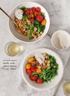 Roasted Tomato Bowls With Wheat Berries