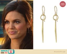 Zoe s gold dagger earrings on Hart of Dixie. Outfit Details  http    45ec79cd8