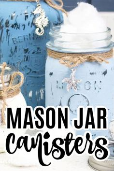 Cute Home Decor Make your own mason jar canisters! This mason jar canister set is perfect for your kitchen or bathroom, and can be customized to your own decor. - Cute Home Decor Make your own mason jar canisters! This mason - Mason Jars, Mason Jar Crafts, Classic Home Decor, Cute Home Decor, Easy Diy Crafts, Recycled Crafts, Creative Crafts, Rustic Crafts, Decor Crafts
