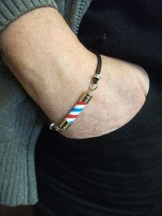Items similar to Barber Pole Friendship Bracelet For Man. Barber Pole Knot Bracelet on Etsy Barber Haircuts, Haircuts For Men, Barber Accessories, Barbershop Design, Barbershop Ideas, Barber Shop Decor, Leather Thread, Best Barber, Haircut Designs