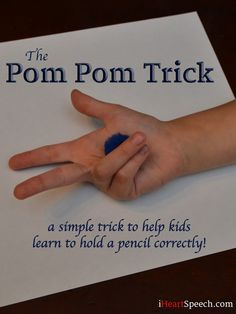 The Pom Pom Trick to Teach Kids how to Hold a Pencil Correctly! iHeartSpeech.com